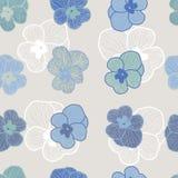 Sömlös blom- modell i skuggor av blått vektor illustrationer