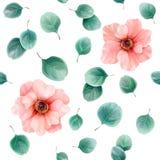 Sömlös blom- modell med anemoner och eukalyptussidor vektor illustrationer