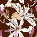 Sömlös blom- modell med bild av en magnolia och liljablommor på en tappningbruntbakgrund vektor illustrationer
