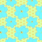 Sömlös blom- modell med blåa violetta blommor Fotografering för Bildbyråer