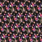 Sömlös blom- modell med buketter av trädgårdblommor och flerfärgade konfettier Tryck för tyg Klocka och kosmosblommor stock illustrationer