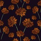 Sömlös blom- modell med calendulablommor Vektor Illustrationer
