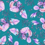 Sömlös blom- modell med de vattenfärglilasidorna och bären på filialerna stock illustrationer