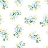 Sömlös blom- modell med den stora och lilla blåttrosen Fotografering för Bildbyråer