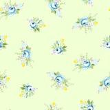 Sömlös blom- modell med den stora och lilla blåttrosen Arkivbild
