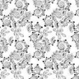 Sömlös blom- modell med klotter och gurkor Royaltyfri Foto