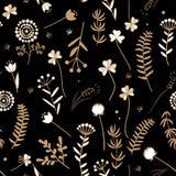 Sömlös blom- modell med klottersidor och örter Stock Illustrationer