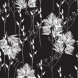 Sömlös blom- modell med lösa örter och ormbunkar växten för torra blom- grungy leaves för bakgrund befläckte den gammala paper ta royaltyfri illustrationer