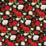 Sömlös blom- modell med röda och vita rosor på en svart bakgrund Arkivbilder