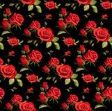 Sömlös blom- modell med röda rosor på en svart bakgrund royaltyfri bild