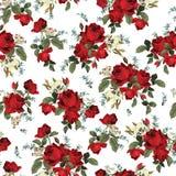 Sömlös blom- modell med röda rosor på vit bakgrund stock illustrationer