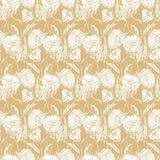 Sömlös blom- modell med rep, band, tulpan, vallmo och liljor Komplext vektortryck i gult, senapsgult och vitt stock illustrationer