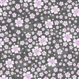 Sömlös blom- modell med rosa kulöra blommor på grå bakgrund Arkivfoton