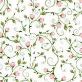 Sömlös blom- modell med rosa rosebuds också vektor för coreldrawillustration vektor illustrationer