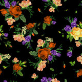 Sömlös blom- modell med rosor och freesia, vattenfärg vektor illustrationer