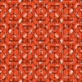 Sömlös blom- modell med slagträn, tulpan, vallmo och liljor Komplext vektortryck i skuggor av apelsinen royaltyfri illustrationer