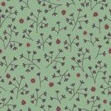 Sömlös blom- modell med små blommor Ändlös grön bakgrund Arkivfoto