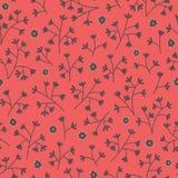 Sömlös blom- modell med små blommor Ändlös röd bakgrund Fotografering för Bildbyråer