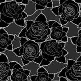 Sömlös blom- modell med svarta rosor Royaltyfri Foto