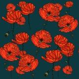 Sömlös blom- modell med vallmoblommor Royaltyfri Illustrationer