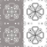 Sömlös blom- modell på en vit bakgrund och grå färgtegelplattor vektor illustrationer