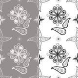 Sömlös blom- modell på vit- och grå färgbakgrund stock illustrationer