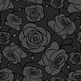 Sömlös blom- mosaikmodell med gråa rosor på mörker - grå bakgrund Royaltyfri Foto
