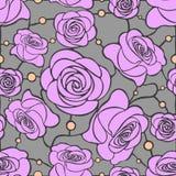 Sömlös blom- mosaikmodell med rosa rosor på grå bakgrund med prickar Fotografering för Bildbyråer