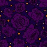 Sömlös blom- mosaikmodell med violetta rosor på mörker - blå bakgrund Arkivfoto