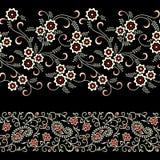 Sömlös blom- paisley gräns på svart färg vektor illustrationer