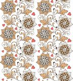 Sömlös blom- prydnad för tappning med hjärtor Dekorativ prydnadbakgrund för tyg, textil, inpackningspapper arkivfoton