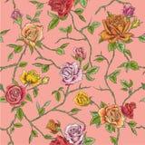 Sömlös blom- rosbakgrund royaltyfri illustrationer
