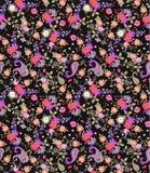 Sömlös blom- sommarmodell med paisley, buketter av rosor, tusenskönan, kosmos och klockablommor på svart bakgrund vektor illustrationer