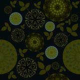 Sömlös blom- svart för olivgrön gräsplan för modell Royaltyfri Bild