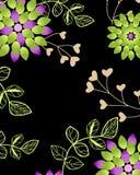 Sömlös blom- tapet på svart backgruond Arkivbilder