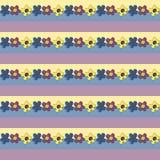 Sömlös blomma Patterm Vektorbakgrund med guling, blått och Arkivbild