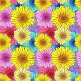 Sömlös blommamodell för vektor, bakgrundsmall, färgrik illustration, kortbakgrund stock illustrationer
