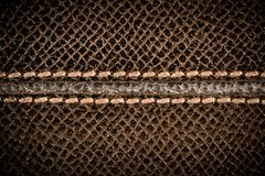 Sömlös brun lädertextur med sömmen Arkivfoton
