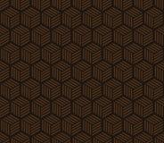 Sömlös choklad - bruna sexhörningar med band mönstrar vektorn Arkivbild