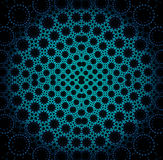Sömlös cirkelprydnadturkosblå svart Royaltyfria Foton