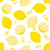 Sömlös citronmodell på vit bakgrund Royaltyfri Foto