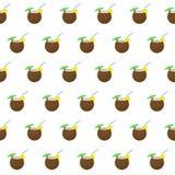 Sömlös coctail för modellsommarstrand i kokosnötbakgrund med mallen i provkartor för din bekvämlighet vektor illustrationer