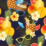 Sömlös coctailbakgrund för sommar royaltyfri illustrationer