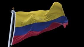 sömlös Colombia flagga för 4k som vinkar i vind Inklusive alfabetisk kanal stock video