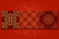 Sömlös dekorativ bakgrund, sömlös etnisk bakgrund bakgrund i etnisk stil, indisk prydnad, cirkulär stock illustrationer