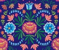 Sömlös dekorativ blom- broderimodell för vektor, prydnad för textildekor Bohemisk handgjord stilbakgrund vektor illustrationer