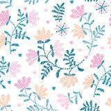 Sömlös dekorativ blom- broderimodell för vektor, prydnad för textildekor Bohemisk handgjord stilbakgrund stock illustrationer