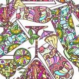 Sömlös dekorativ coctailmodell Arkivfoto