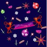 Sömlös dekorativ julbakgrund med apor och snöflingor och prydnader Royaltyfri Foto