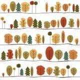 Sömlös dekorativ malltextur med Autumn Trees färgrik modell stock illustrationer